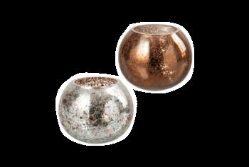 Set theelichthouders cracklé glas zilver bruin J-line